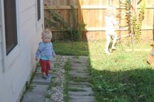 Playing outside.